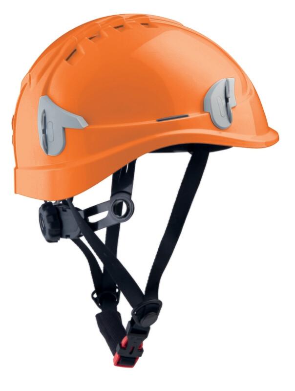 Casque monteur ventilé avec attaches pour lampe frontale.