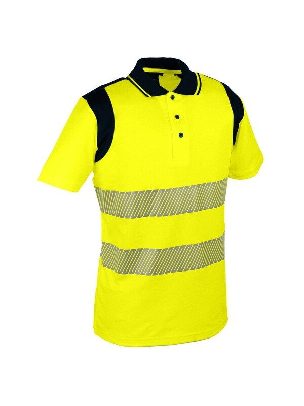 Polo jaune ou orange.  55% coton / 45% polyester. 170 gm2.