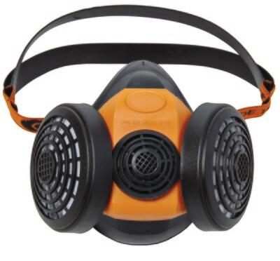 Demi-masque respiratoire. En caoutchoucpour 2 filtres