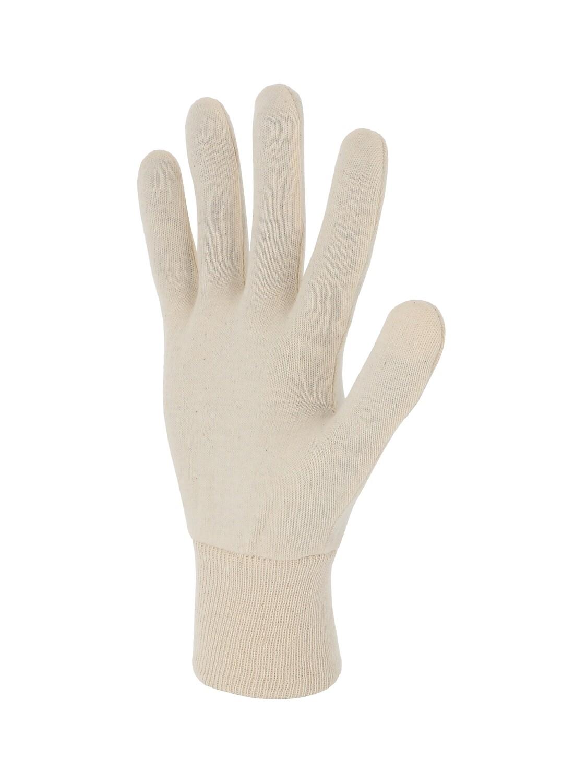 Gant coton interlock ecru. Version lourde.  Ambidextre. (10 paires)