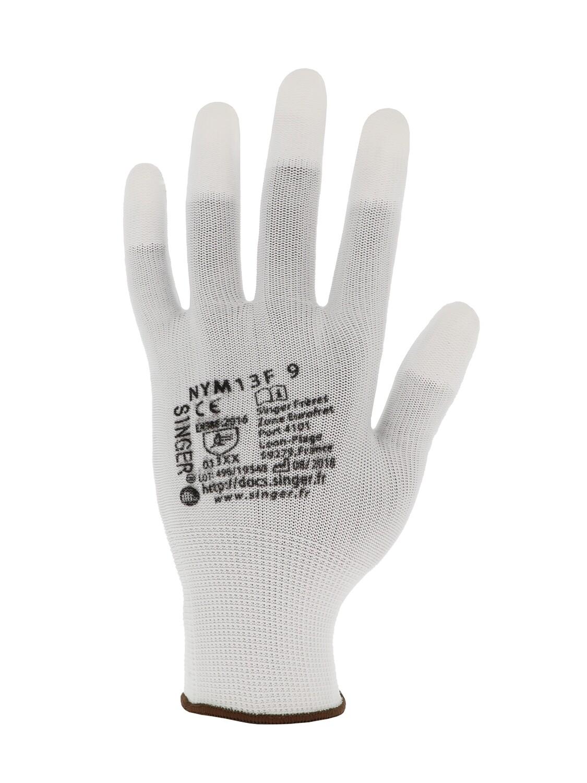 Gant polyester enduit PU bout de doigts. Jauge 13  (10 paires)