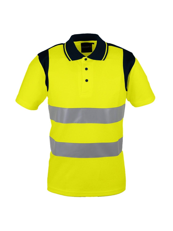 Polo jaune. Haute-visibilite. 100% polyester. 150 gm2.