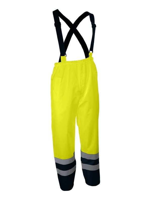 Pantalon à bretelles haute-visibilité.