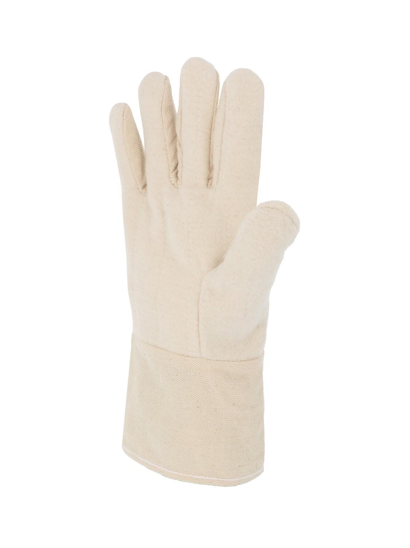 Gant coton tisse. Paume double epaisseur. Manchette 8 cm. (10 paires)