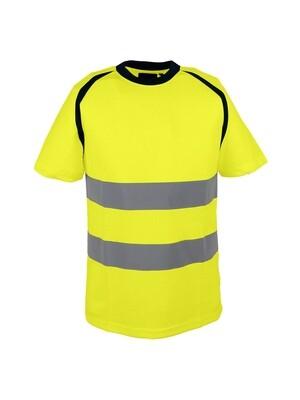 T-shirt jaune. 100% polyester bird-eye. 150 gm2.