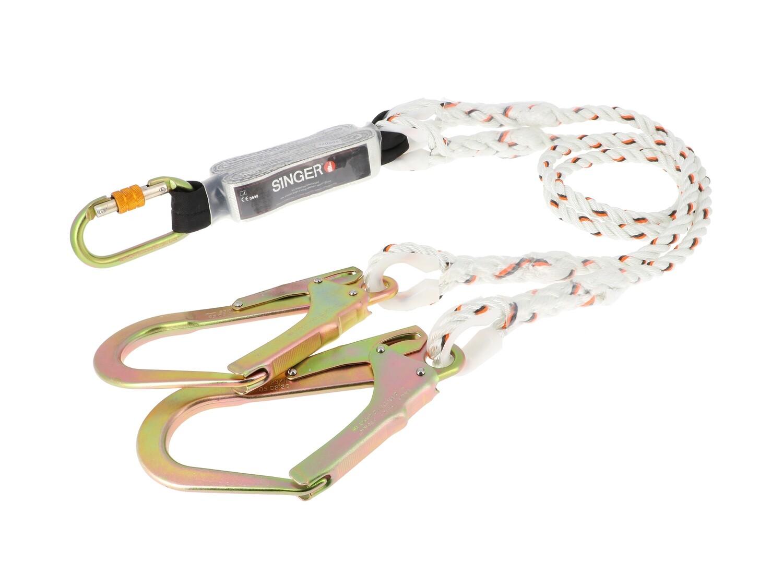 Double longe antichute avec absorbeur d'energie et connecteurs. 1.50 m.