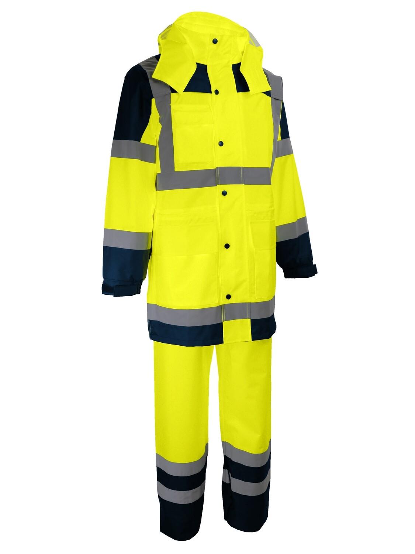 Complet de pluie: manteau+pantalon. Polyester enduit PU.