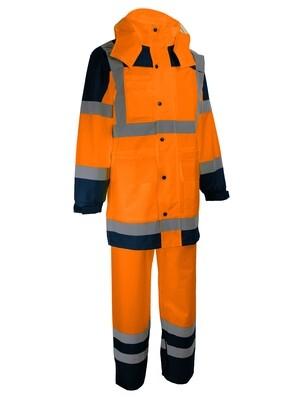 Complet de pluie: manteau+pantalon. Polyester enduit PU