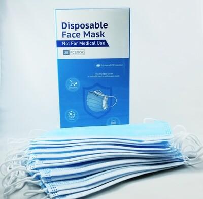 Face Mask Blue ear loop style 25/bx