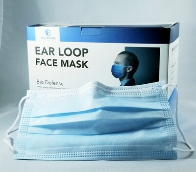 Face Mask Blue ear loop style 50/bx