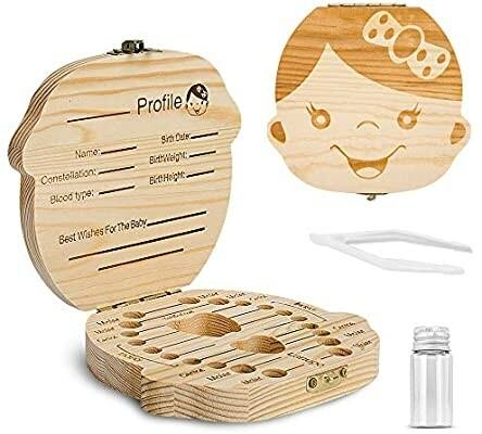 Caja de dientes de niño, organizador de madera para dientes de niño, cajita de recuerdos