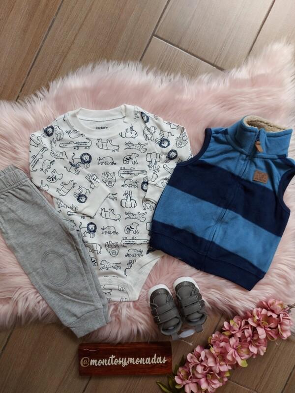 Set 3 piezas, pantalón + body + chaleco, Carters,  12 meses