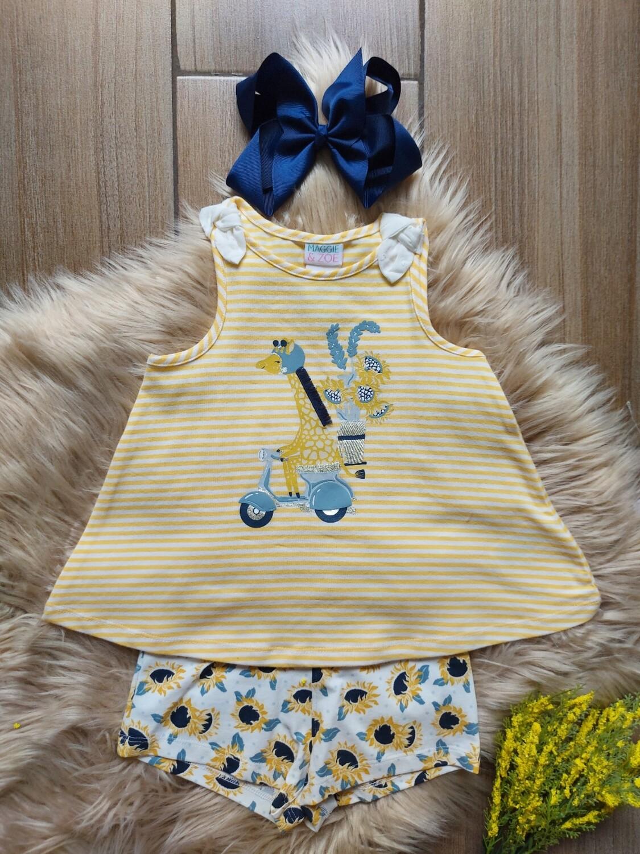 Set jirafa blusa + short, 12 a 18 meses