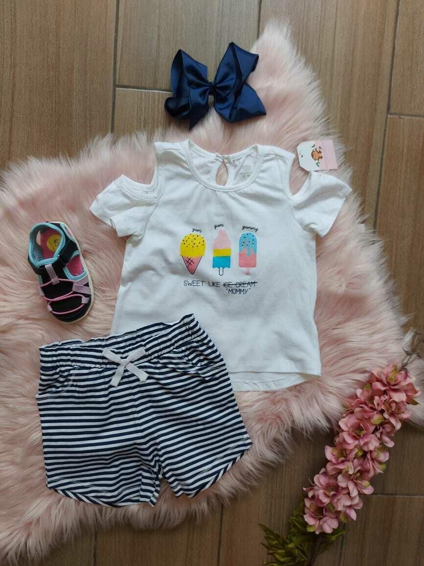 Set blusa blanca helados + short azul rayas, 12 a 18 meses