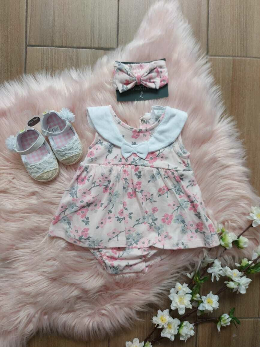 Vestido rosa + cintillo, Lauren Ashley, 3 a 6 meses