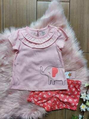 Set 2 piezas, blusa elefante rosada + short, 3 años