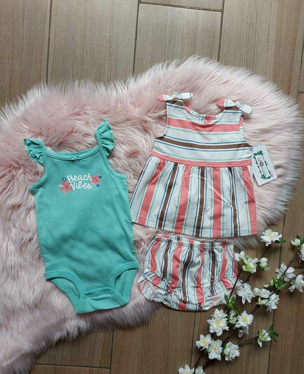 Set 3 piezas, bodysuit + blusa + short, 12 a 18 meses