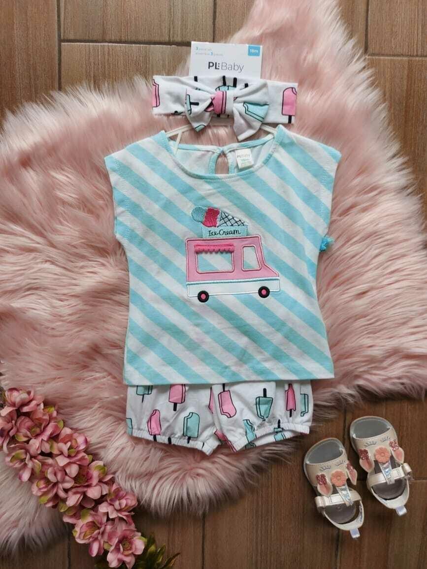 Set blusa celeste helados + short + cintillo, 18 a 24 meses