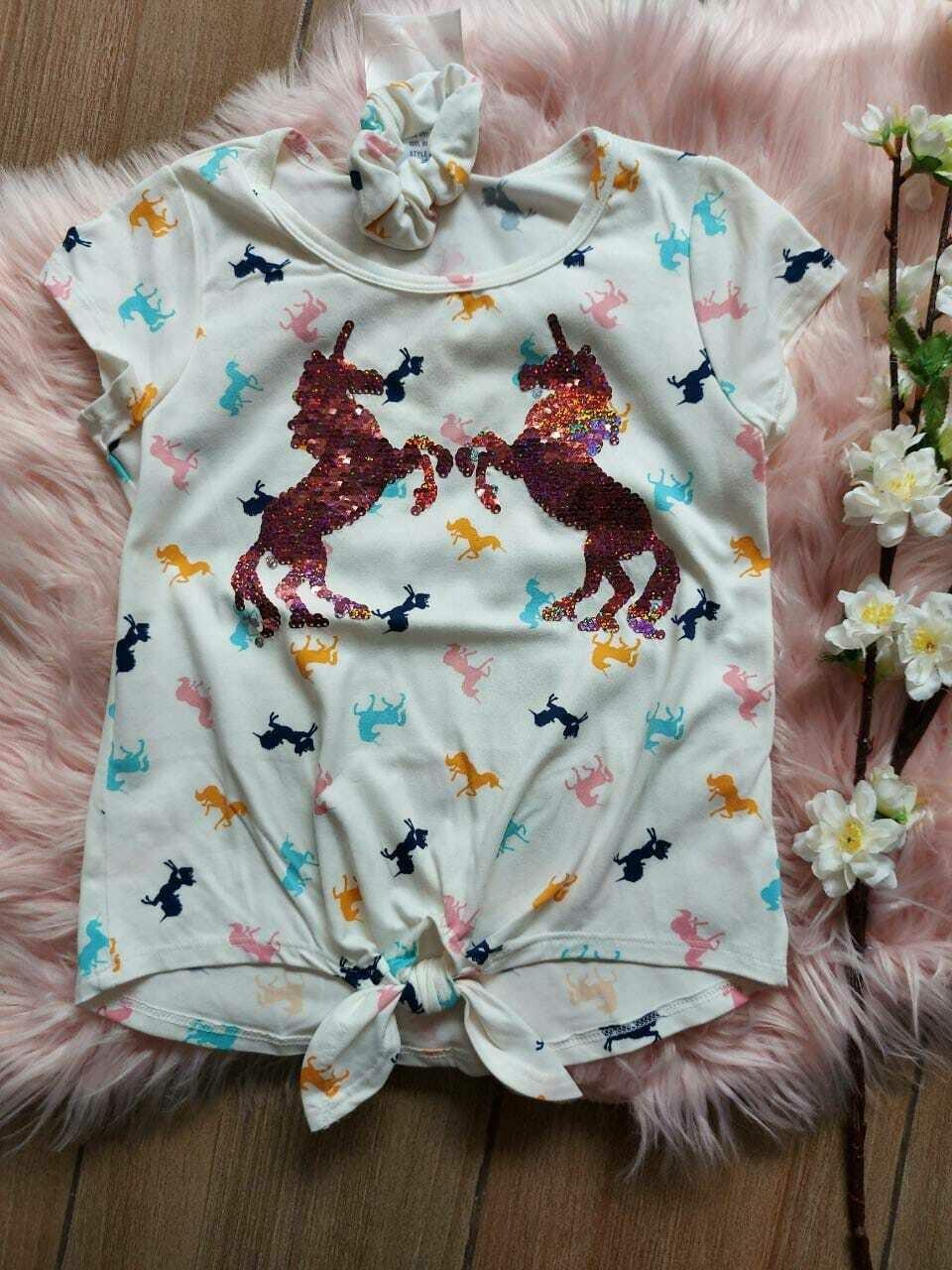 Blusa unicornios + moño 6 años