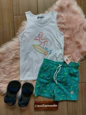 Set playero, camiseta sin mangas + bermuda  , talla M (10 años)