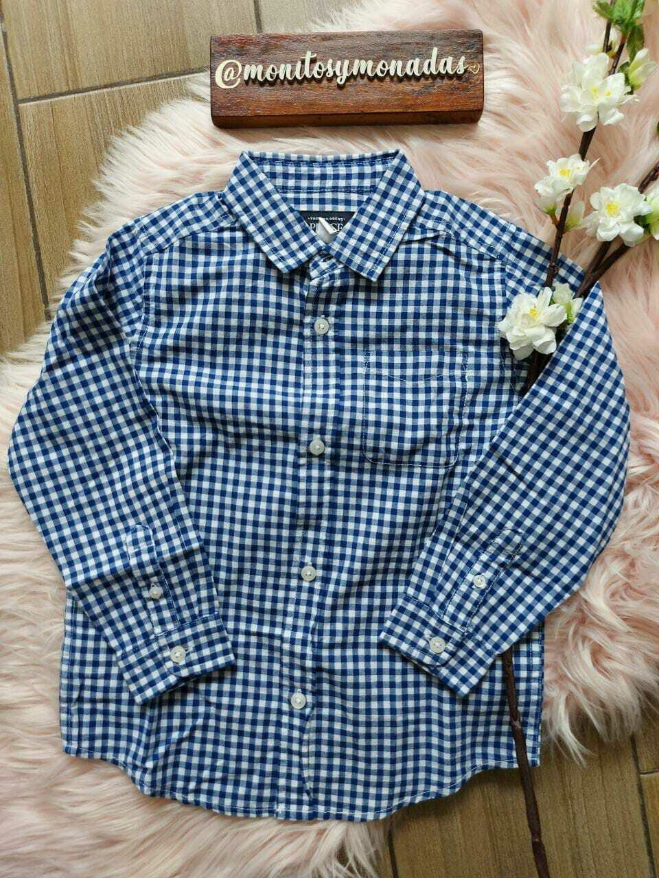 Camisa manga larga, cuadros azul. Children's Place 5 años