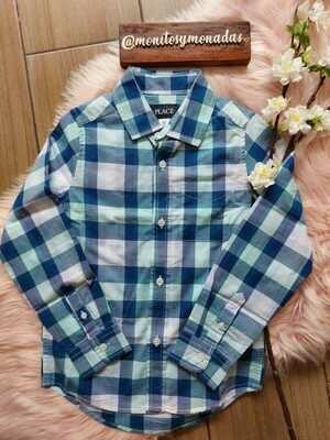 Camisa manga larga cuadros celeste y azul  5/6 años