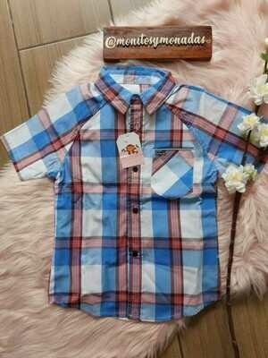 Camisa manga corta, cuadros celeste y vino, Hurley, 3 años