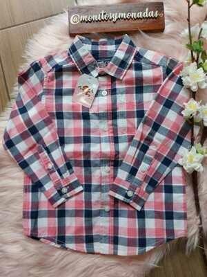 Camisa manga larga, cuadros rosados, Children's Place 3 años