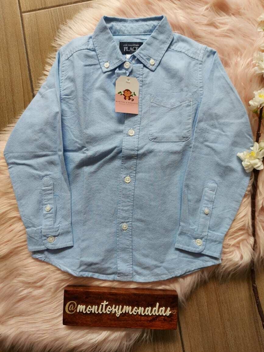 Camisa manga larga celeste denim, 4 años