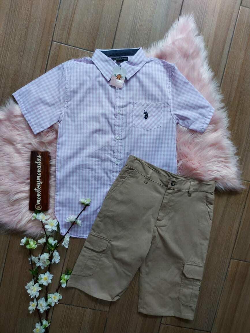 Set Polo Assn Usa , camisa lila + bermuda, 12 años