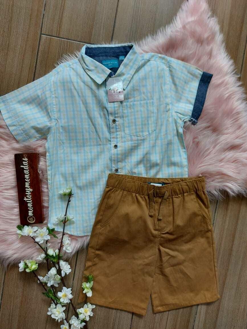 Set camisa cuadros celeste y amarillo + bermuda café, Perry Ellis, 7 años