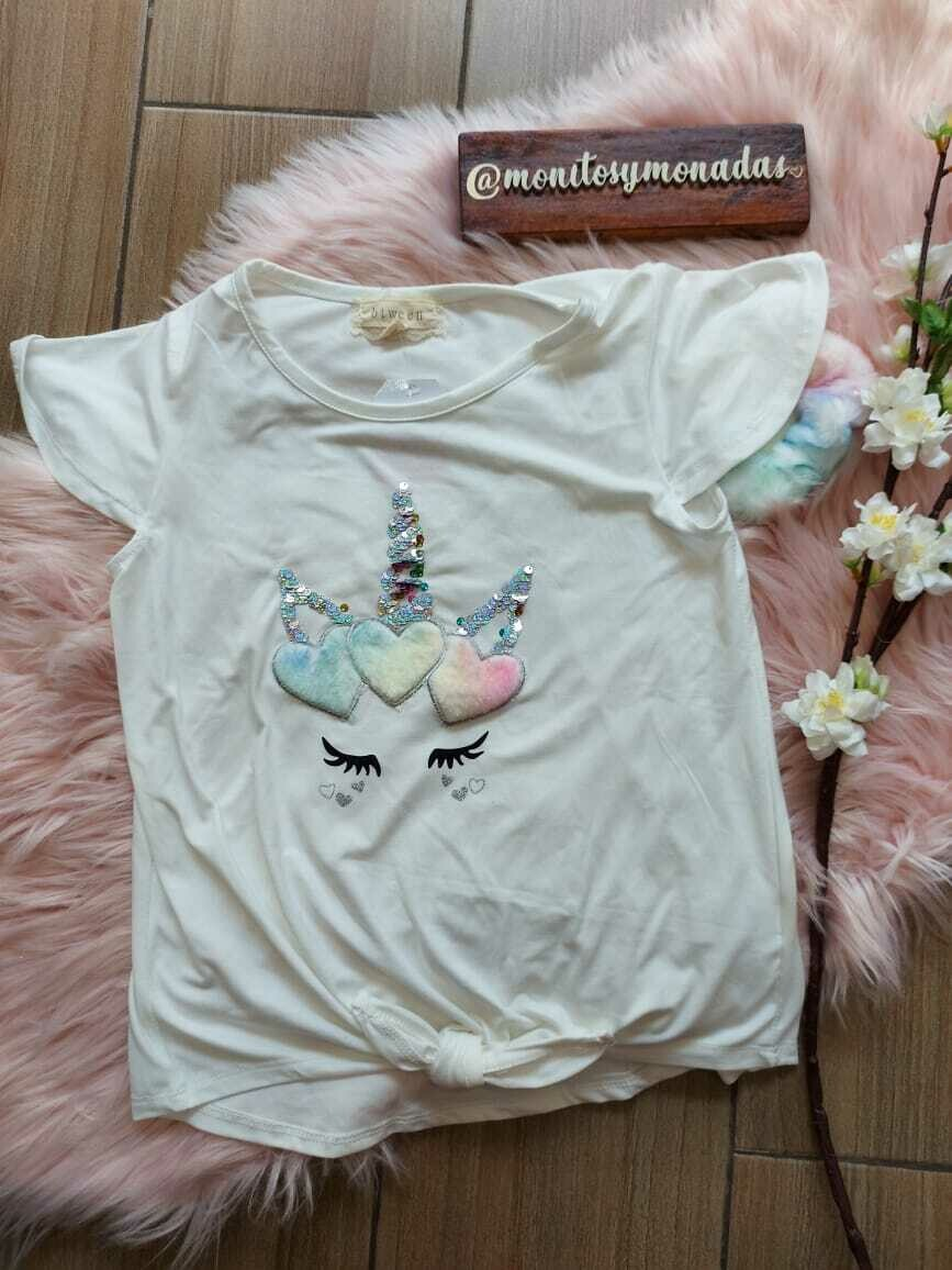 Blusa tela durazno,  beige de unicornio + moño, 10 años