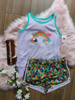 Pijama tropical 2 piezas , camiseta + short , 10 /12 años