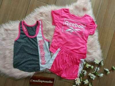 Set 3 piezas Reebok, Short rosado y blanco + 2 camisetas  5 años