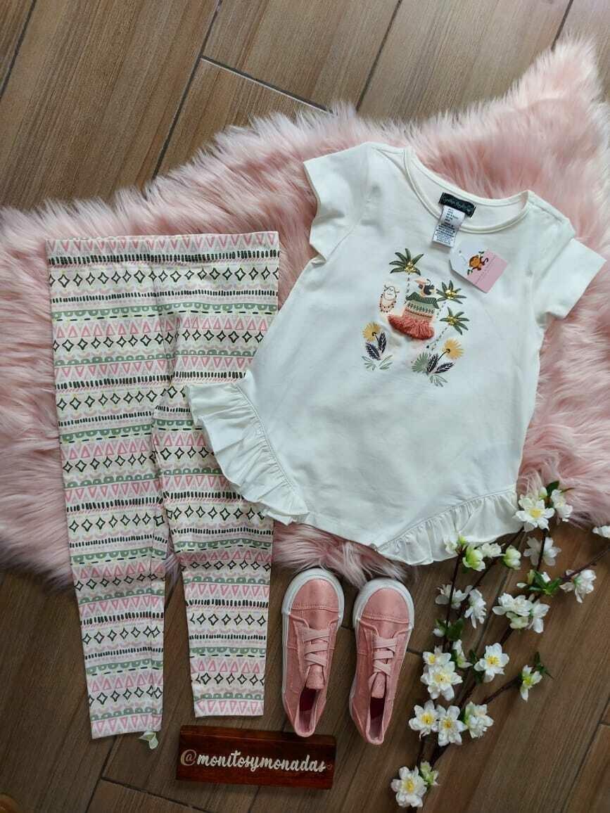 Set 2 piezas,  blusa beige con hermoso detalle + leggins estampado, colores verde oliva + rosa, 8 años