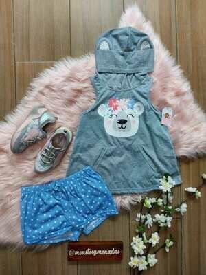 Set 2 piezas, blusa gris de osito con capucha + short azul, 5/6 años