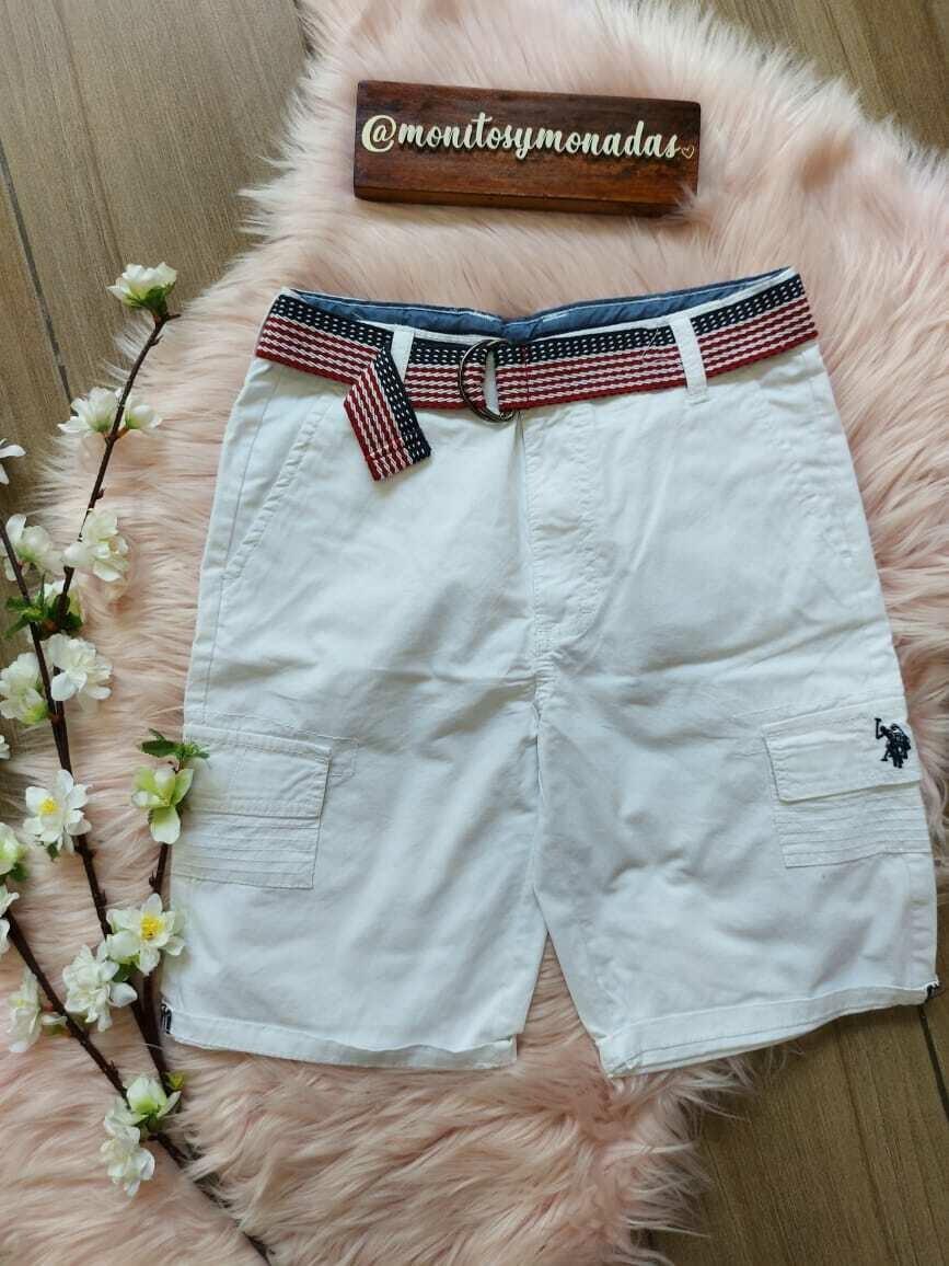 Bermuda blanca con cinturón, Polo Assn Usa, 10 años
