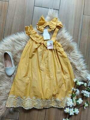 Vestido mostaza + cintillo, Tahari, 3/4 años