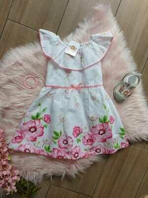 Vestido blanco y rosado, Penelope Mack, 2 años