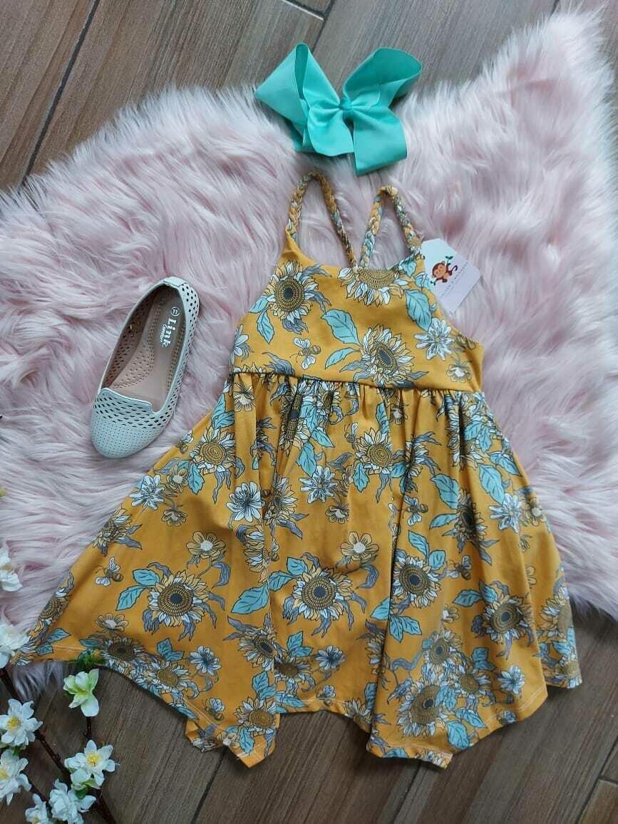 Vestido mostaza floreado, 4 años
