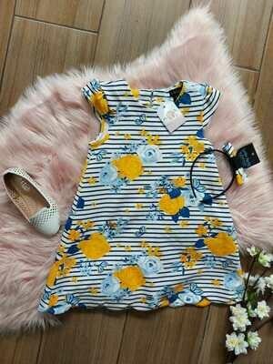 Vestido rayado azul y amarillo + diadema, 2 años