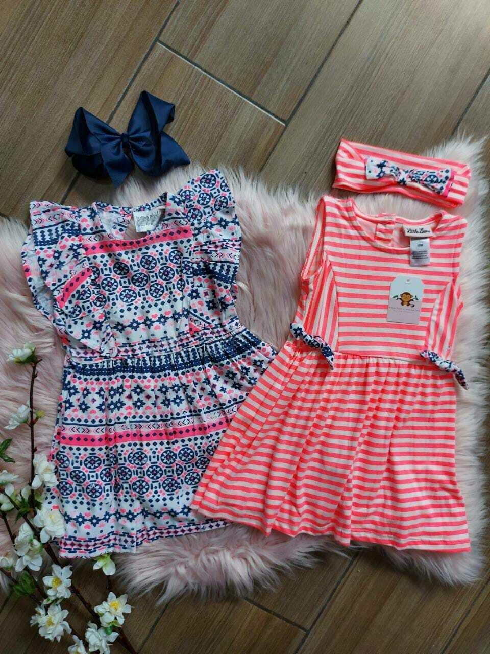 Set 2 vestidos, rosado neón y azul, 18 meses