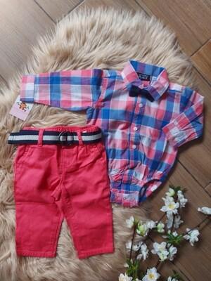 Camisa bodysuit + pantalón cinturón , 3 a 6 meses