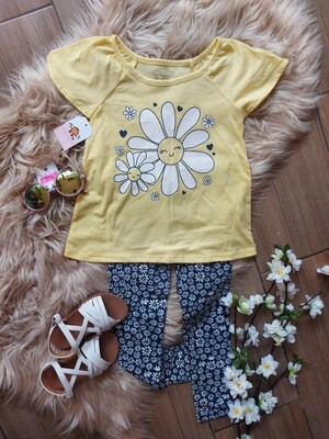 Set Blusa amarilla flor + leggins, 3 y 4 años