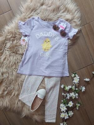 Set blusa lila + leggins, 3 años