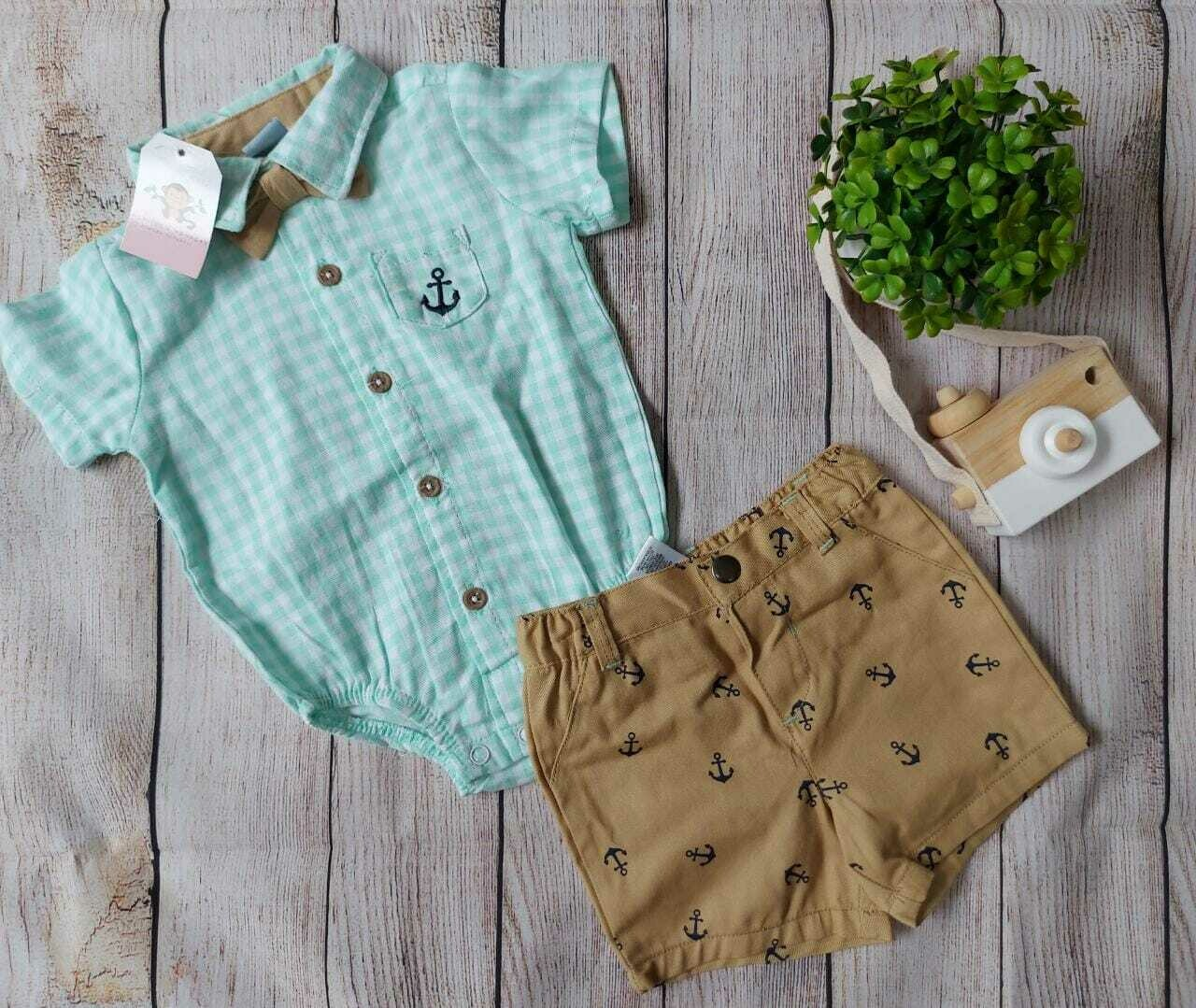 Bodysuit verde agua a rayas + Short café, 3/6 meses