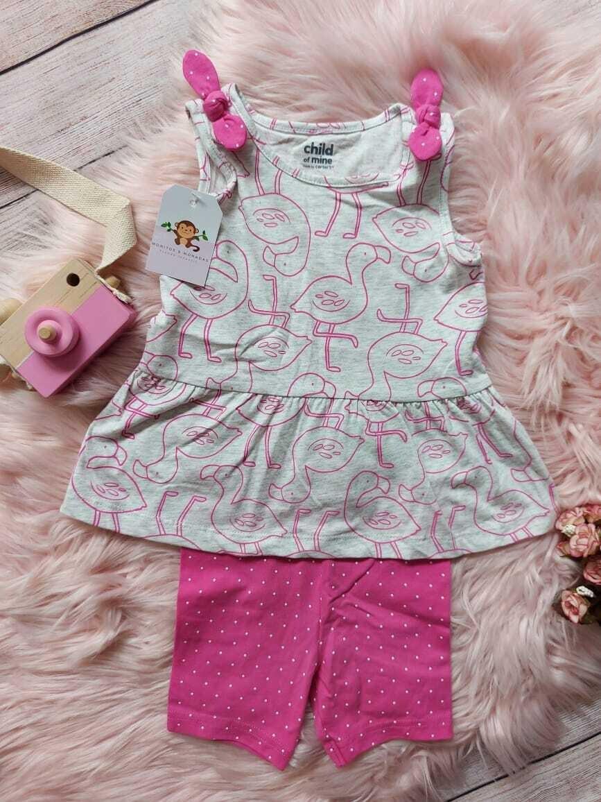 Set 2 piezas, blusa flamingos + licra , 18m