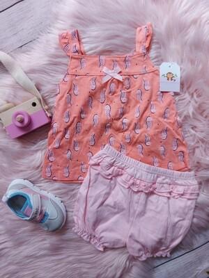 Set blusa melón caballitos de mar y short rosa, 18m