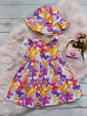 Vestido de mariposas lilas y anaranjadas  + sombrerito, 24m