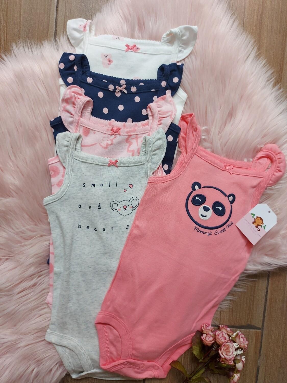 Set 5 bodysuits de tiritas, osito panda, RN y 12 a 18 meses